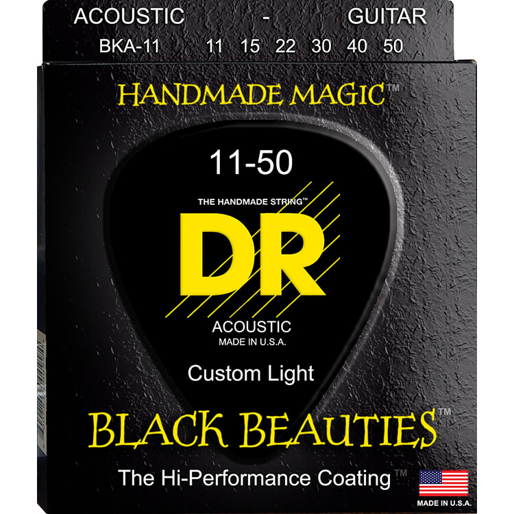 DR Black Beauties Coated Phosphor Bronze Acoustic Guitar String Set - 11-50 Custom Light BKA-11