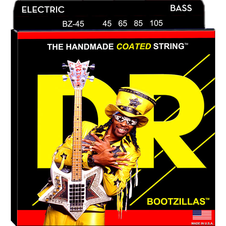 DR Bootzillas Coated Stainless Steel Electric Bass Strings Long Scale - 4-String 45-105 BZ-45