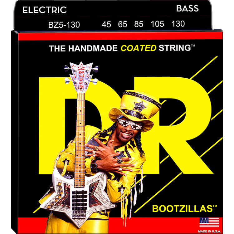 DR Bootzillas Coated Stainless Steel Electric Bass Strings Long Scale - 5-String 45-130 BZ5-130