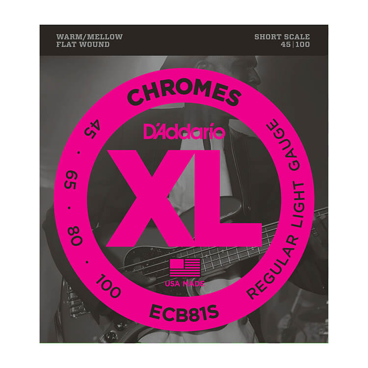 D'Addario Chromes Flatwound Bass String Set Short Scale - 4-String 45-100 Light ECB81S