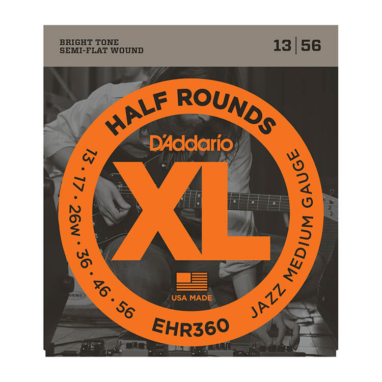D'Addario Half Rounds Electric Guitar String Set 13-56 Jazz Medium EHR360