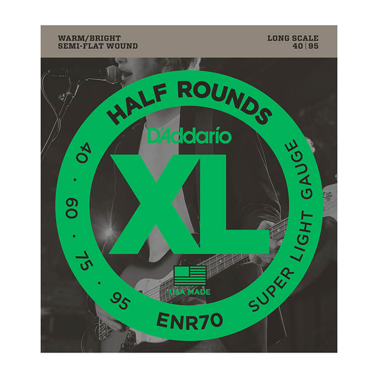 D'Addario Half-Round Bass String Set Long Scale - 4-String 40-095 Super Light ENR70