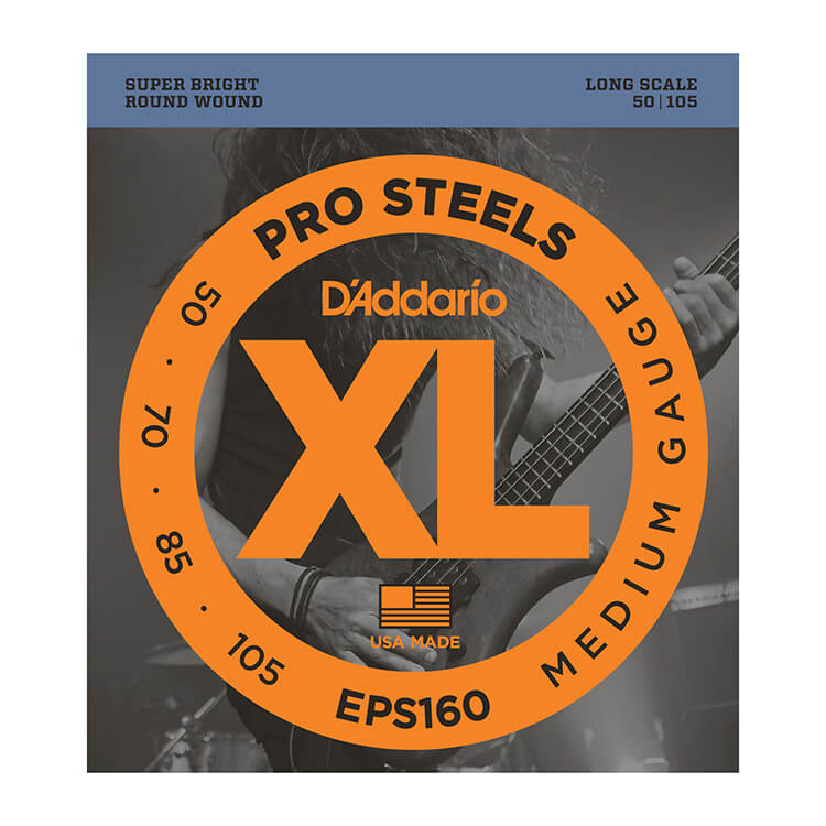 D'Addario ProSteels Stainless Steel Bass String Set Long Scale - 4-String 50-105 Medium EPS160