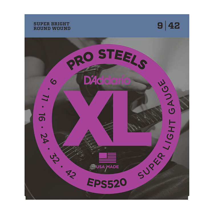 D'Addario ProSteels Stainless Electric Guitar String Set 09-42 Super-Light EPS520