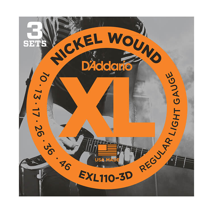 D'Addario XL Nickel Wound Electric Guitar String Sets 10-46 Light EXL110-3D 3-Pack