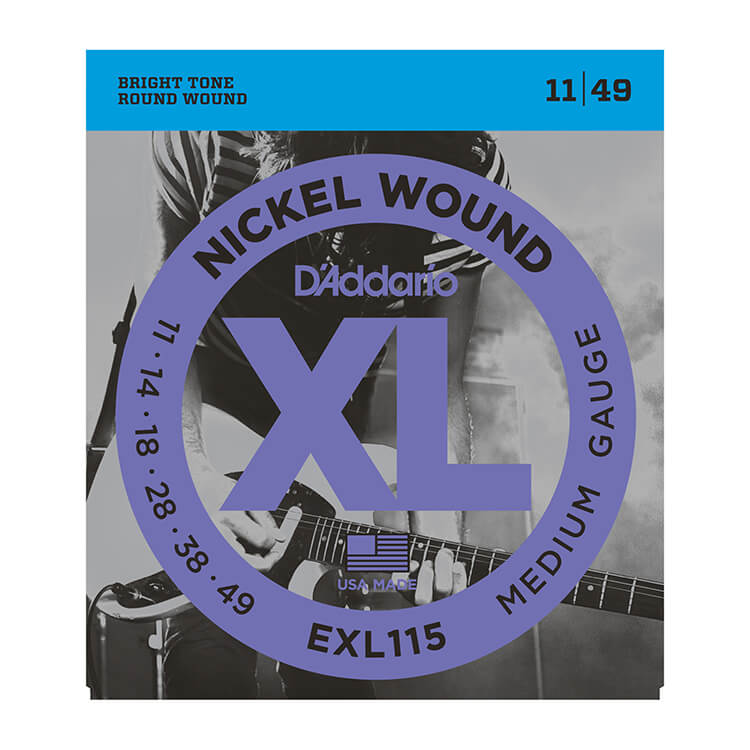 D'Addario XL Nickel Wound Electric Guitar String Set 11-49 Medium EXL115