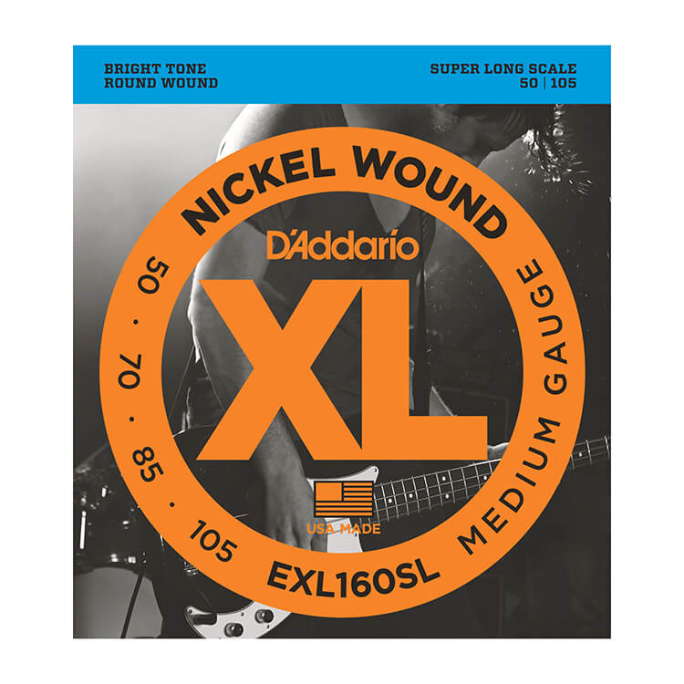 D'Addario XL Nickel Wound Bass String Set Super Long Scale - 4-String 50-105 Medium EXL160SL