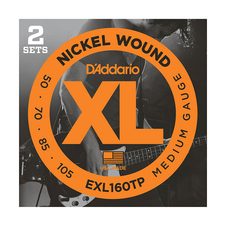 D'Addario XL Nickel Wound Bass String Set Long Scale - 2-Pack 4-String 50-105 Medium EXL160TP
