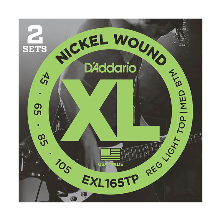 D'Addario XL Nickel Wound Bass String Set Long Scale - 2-Pack 4-String 45-105 Custom Light EXL165TP