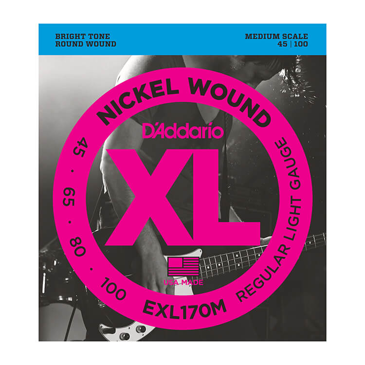 D'Addario XL Nickel Wound Bass String Set Medium Scale - 4-String 45-100 Light EXL170M