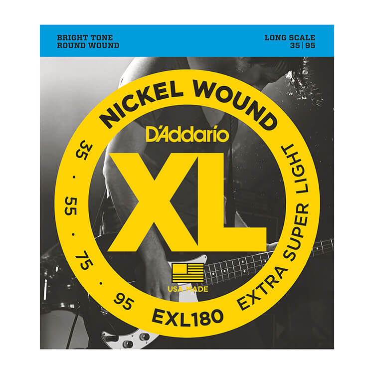 D'Addario XL Nickel Wound Bass String Set Long Scale - 4-String 35-95 Extra Super Light EXL180