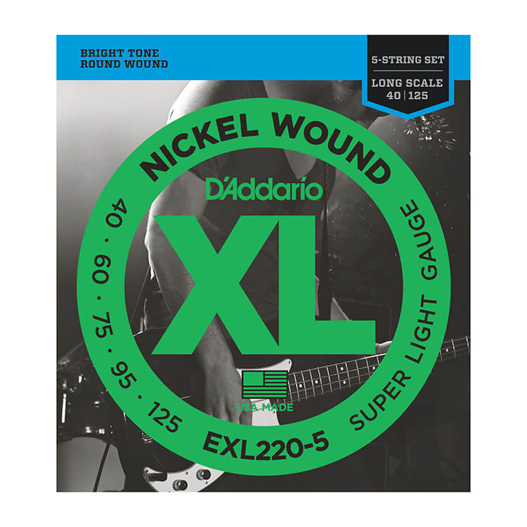 D'Addario XL Nickel Wound Bass String Set Long Scale - 5-String 40-125 Super Light EXL220-5