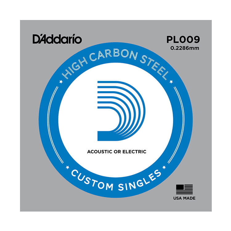 D'Addario Plain Steel Single Acoustic / Electric Guitar String .009p
