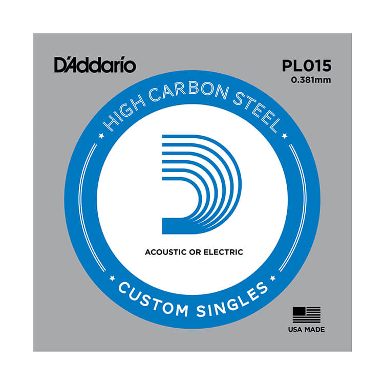 D'Addario Plain Steel Single Acoustic / Electric Guitar String .015p