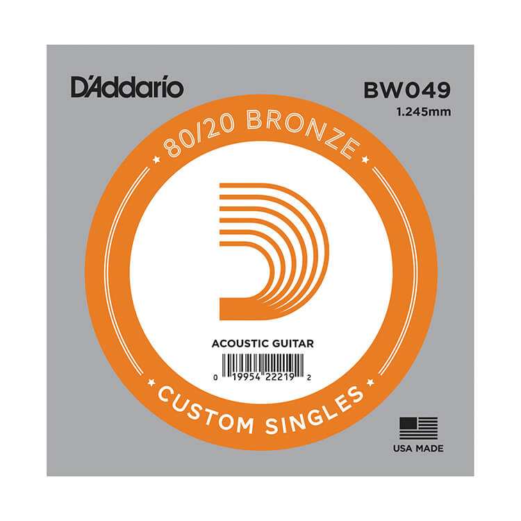 D'Addario 80/20 Bronze Single Acoustic Guitar String .049w
