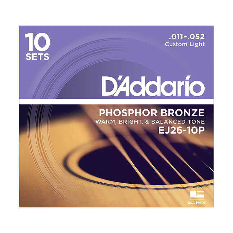 D'Addario Phosphor Bronze Acoustic Guitar String Sets 11-52 Custom Light EJ26-10P 10-Pack