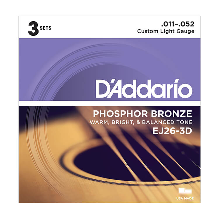 D'Addario Phosphor Bronze Acoustic Guitar String Sets 11-52 Custom Light EJ26-3D 3-Pack