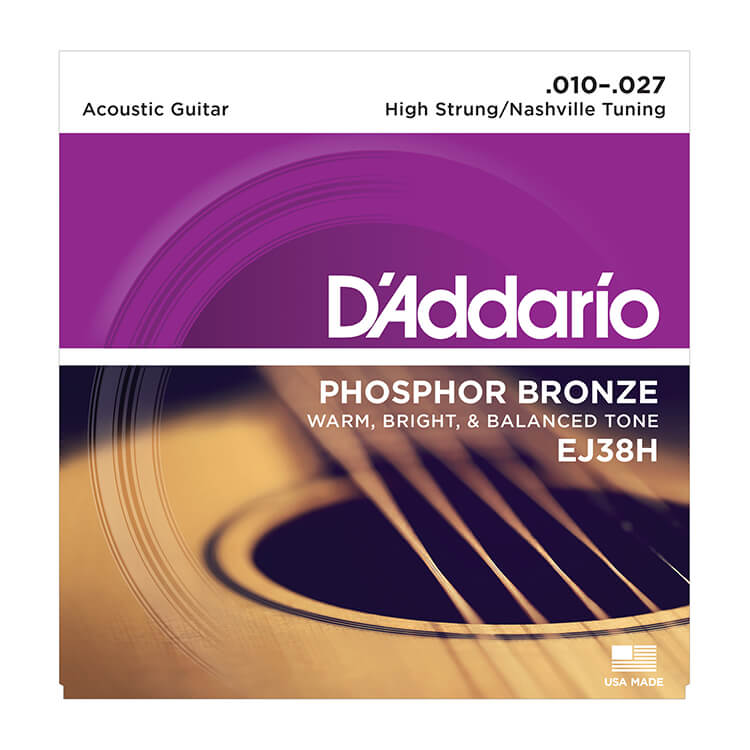 D'Addario Phosphor Bronze Acoustic Guitar String Set 10-27 High Strung / Nashville Tuning EJ38H