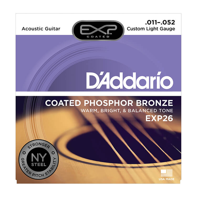 D'Addario EXP Coated Phosphor Bronze Acoustic Guitar String Set 11-52 Custom Light EXP26