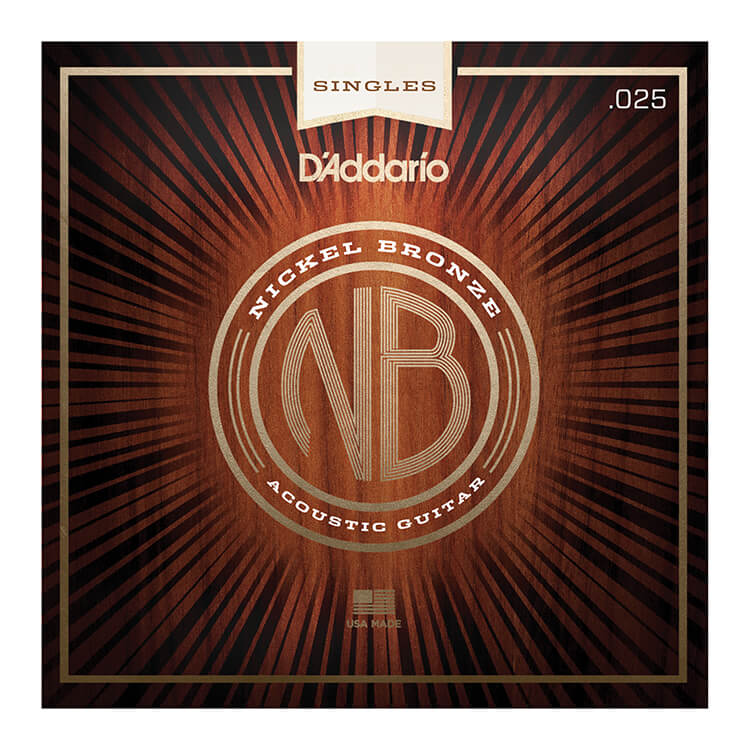 D'Addario Nickel Bronze Single Acoustic Guitar String .025w