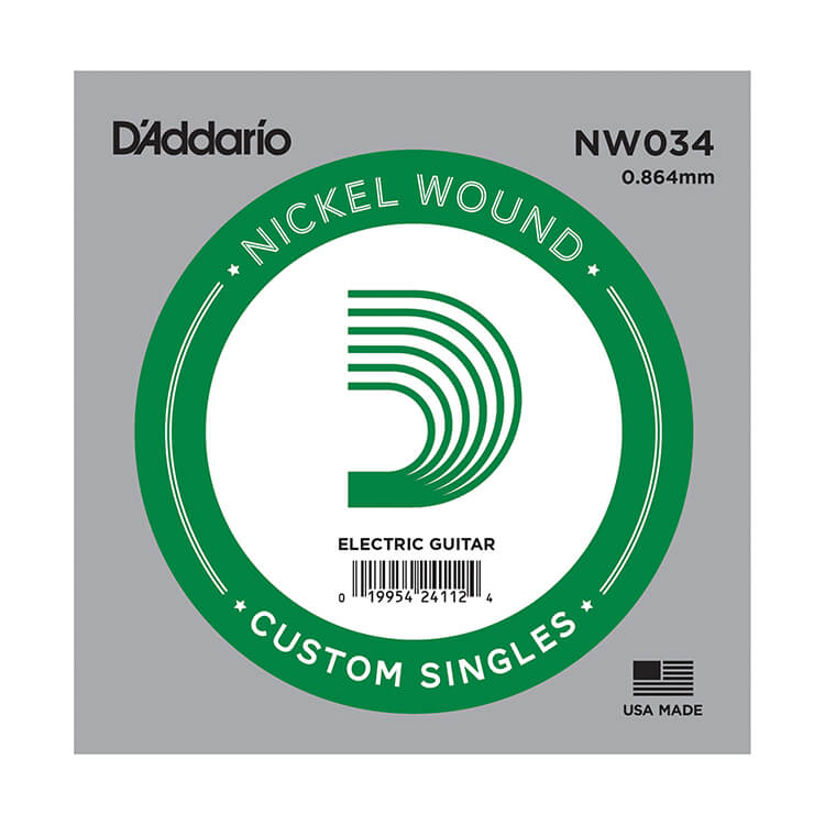 D'Addario XL Nickel Wound Single Electric Guitar String .034w
