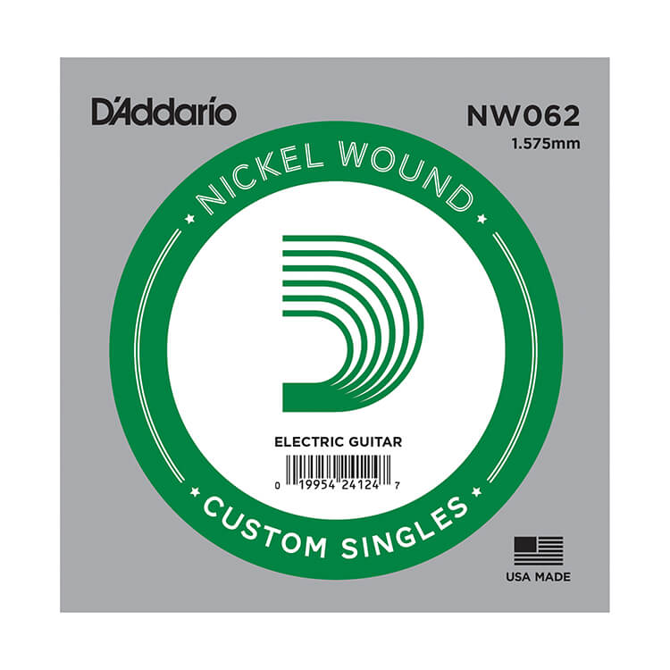 D'Addario XL Nickel Wound Single Electric Guitar String .062w