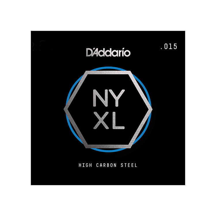 D'Addario NYXL High Carbon Plain Steel Single Electric Guitar String .015p