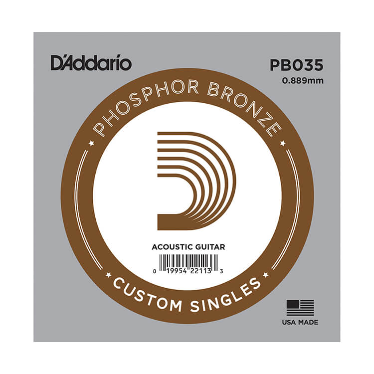 D'Addario Phosphor Bronze Single Acoustic Guitar String .035w