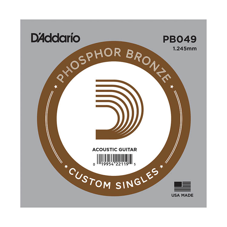 D'Addario Phosphor Bronze Single Acoustic Guitar String .049w