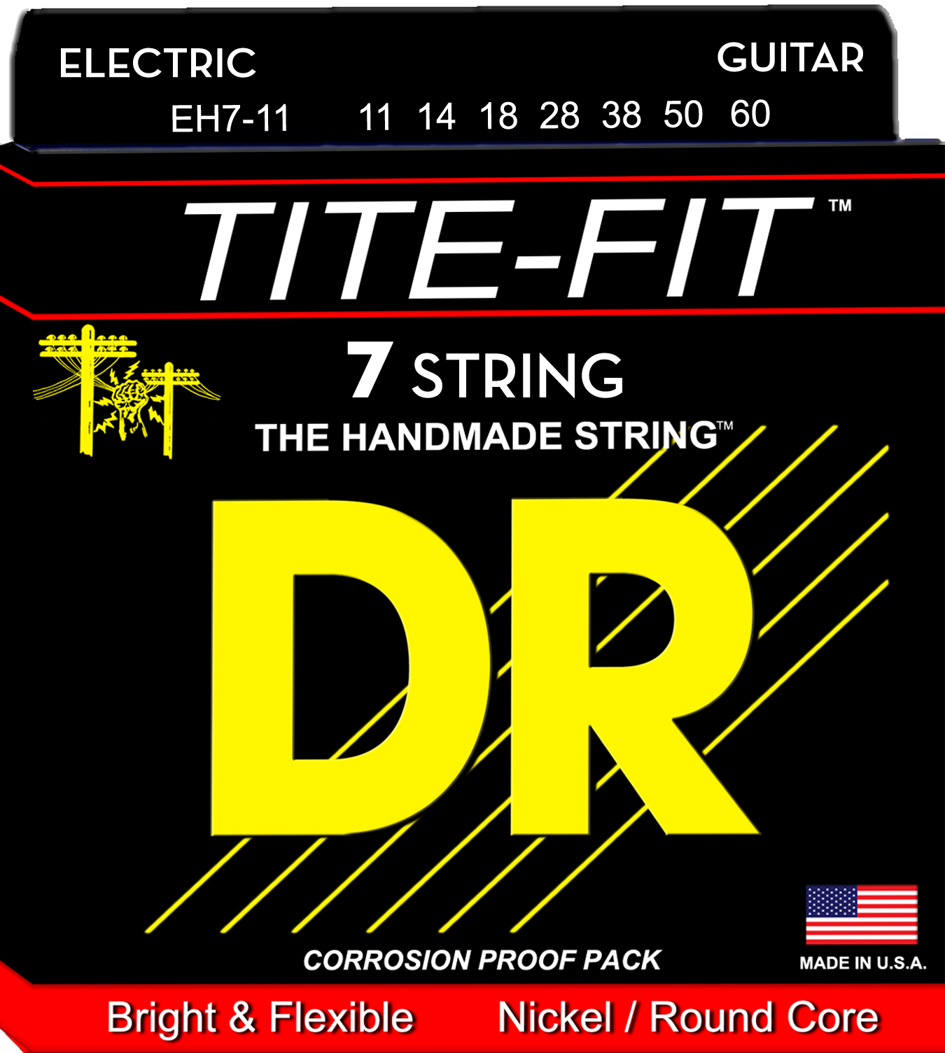 DR Tite-Fit Electric Guitar String Set - 11-60 7-String Heavy EH7-11