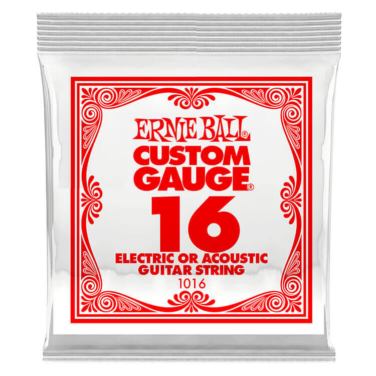 Ernie Ball Plain Steel Single Guitar String Electric or Acoustic .016p