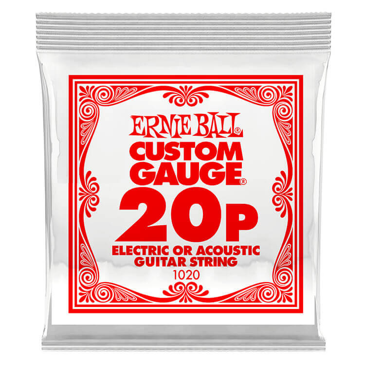 Ernie Ball Plain Steel Single Guitar String Electric or Acoustic .020p