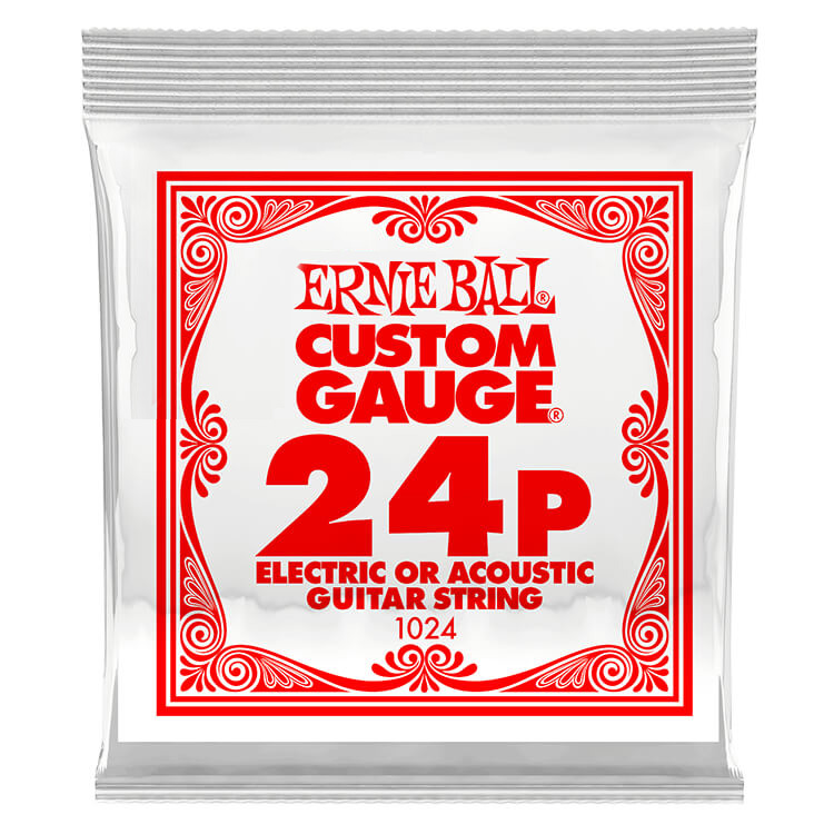 Ernie Ball Plain Steel Single Guitar String Electric or Acoustic .024p