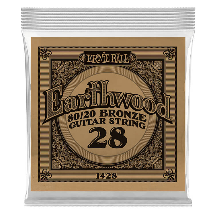 Ernie Ball Earthwood 80/20 Bronze Acoustic Guitar Single String .028