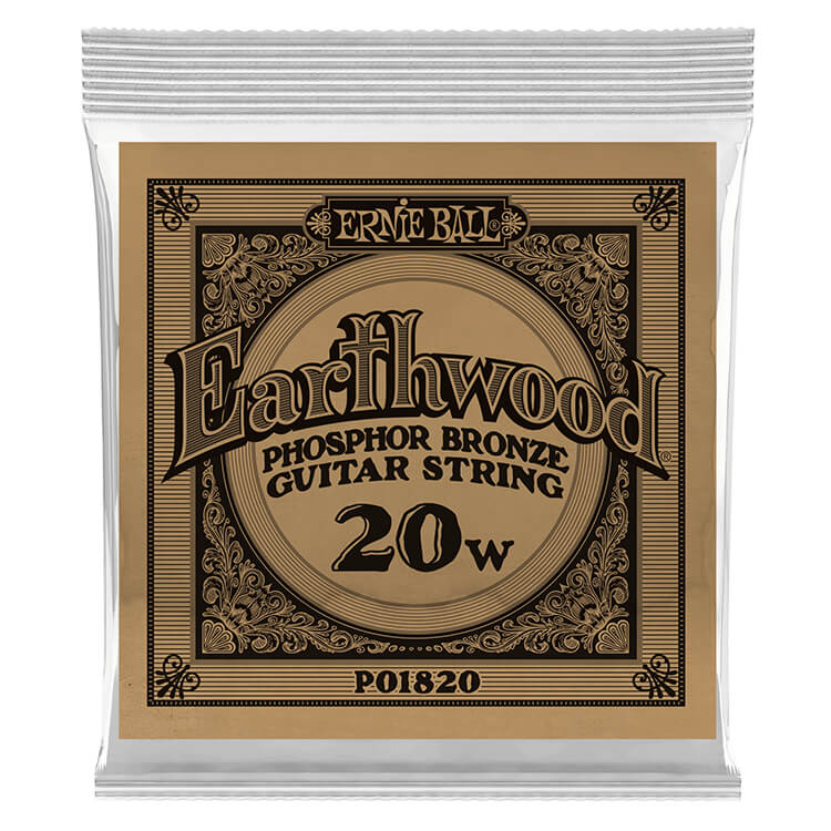 Ernie Ball Earthwood Phosphor Bronze Acoustic Guitar Single String .020w