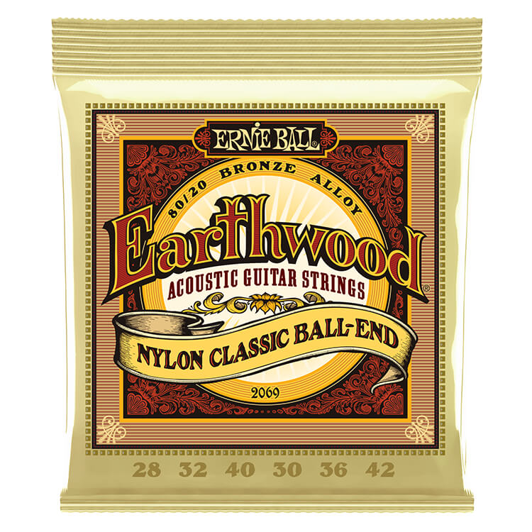 Ernie Ball Earthwood Folk Nylon Acoustic Guitar String Set - 28-42 Clear Nylon Trebles and Gold Ball End Basses 2069