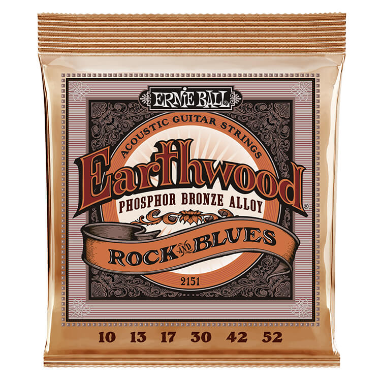 Ernie Ball Earthwood Phosphor Bronze Acoustic Guitar String Set - 10-52 Rock and Blues Plain-G 2151