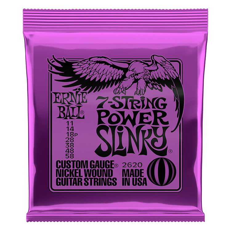 Ernie Ball Slinky Nickel Wound Electric Guitar String Set - 7-String 11-58 Power Slinky 2620