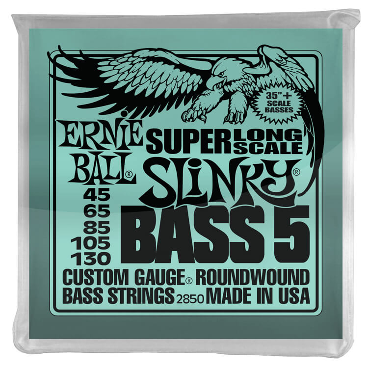 Ernie Ball Slinky Nickel Wound Bass Strings Extra Long Scale - 5-String 45-130 Slinky 2850
