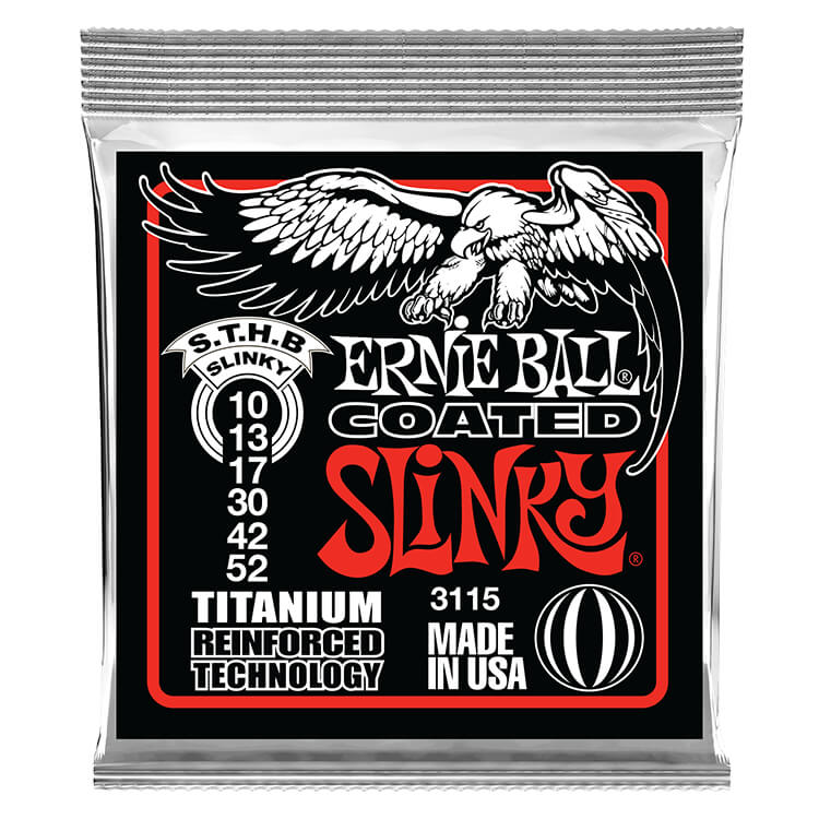 Ernie Ball Slinky RPS Coated Titanium RPS Electric Guitar String Set - 10-52 Skinny Top Heavy Bottom 3115
