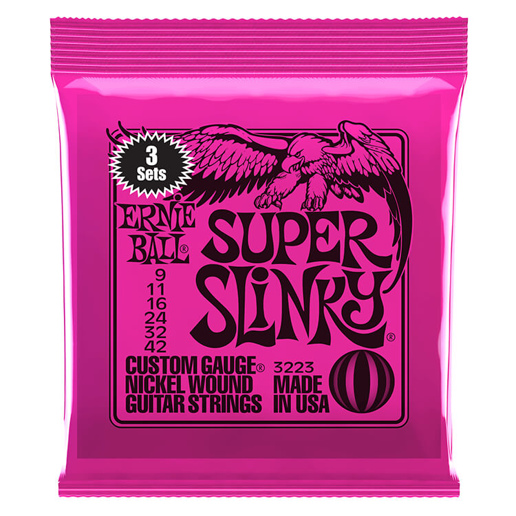 Ernie Ball Slinky Nickel Wound Electric Guitar String Sets - 09-42 Super Slinky 3223 3-Pack