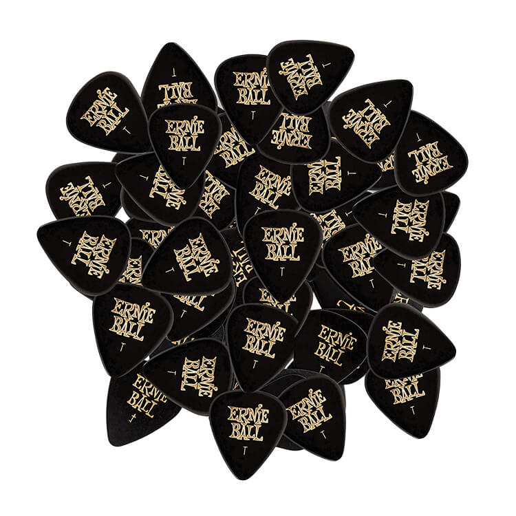 Ernie Ball Cellulose Guitar Picks - .46mm Thin Black bag of 144