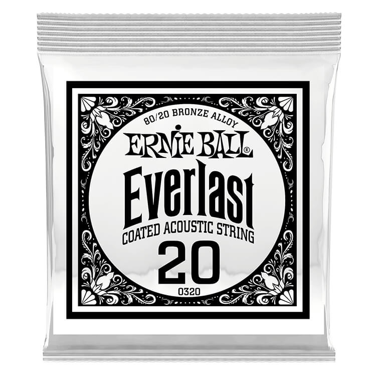 Ernie Ball Everlast Coated 80/20 Bronze Acoustic Guitar Single String .020w
