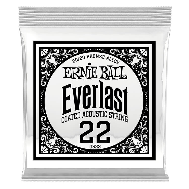 Ernie Ball Everlast Coated 80/20 Bronze Acoustic Guitar Single String .022w
