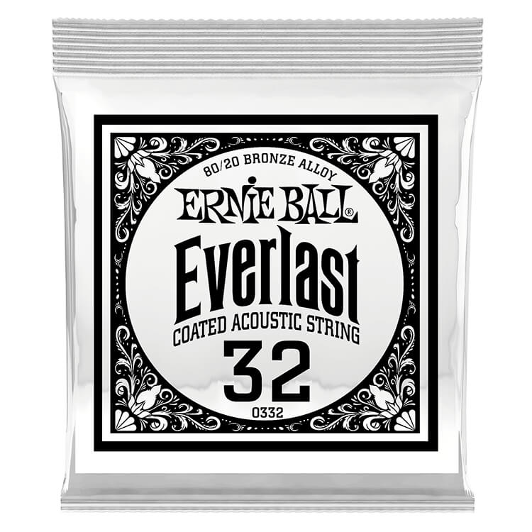 Ernie Ball Everlast Coated 80/20 Bronze Acoustic Guitar Single String .032w