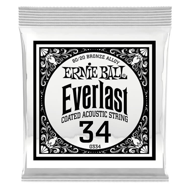Ernie Ball Everlast Coated 80/20 Bronze Acoustic Guitar Single String .034w