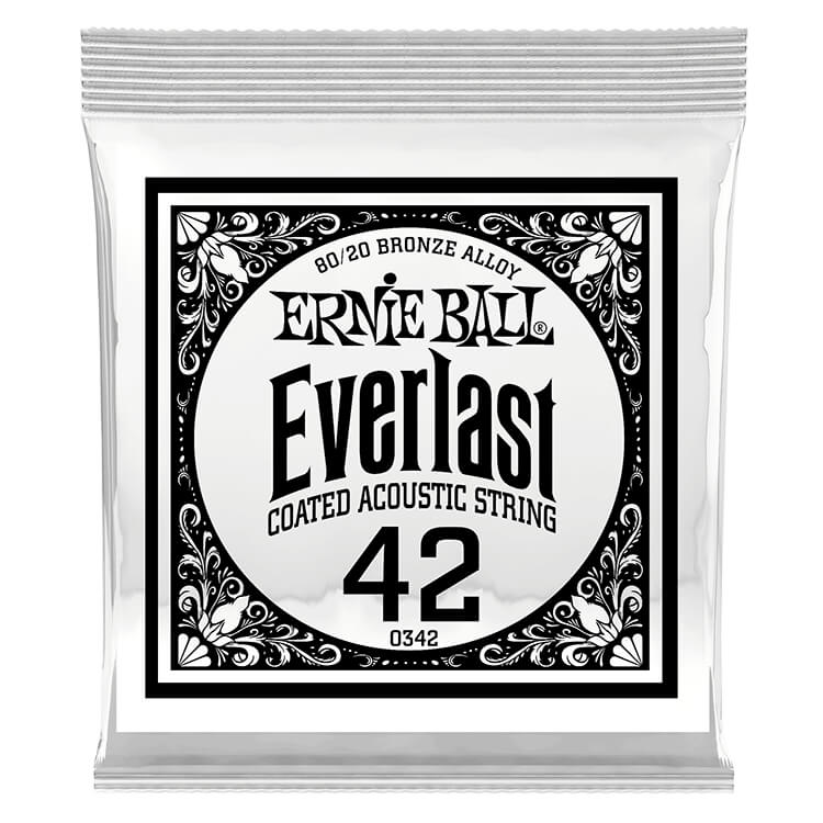 Ernie Ball Everlast Coated 80/20 Bronze Acoustic Guitar Single String .042w