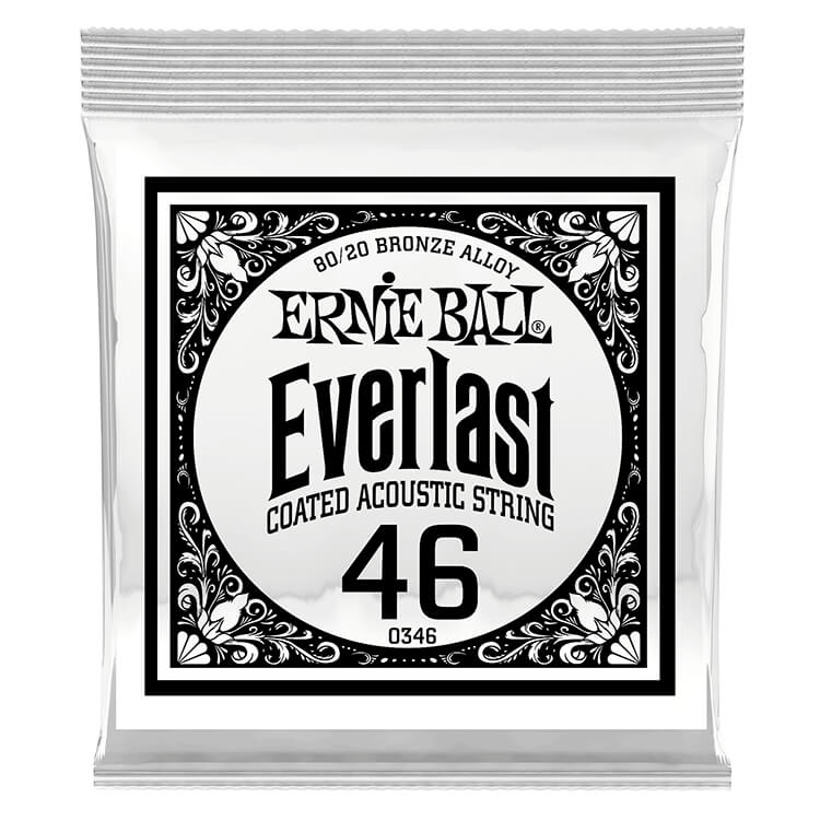 Ernie Ball Everlast Coated 80/20 Bronze Acoustic Guitar Single String .046w