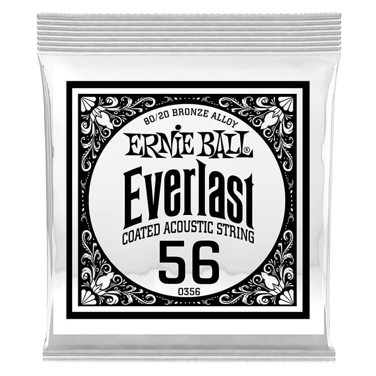Ernie Ball Everlast Coated 80/20 Bronze Acoustic Guitar Single String .056w
