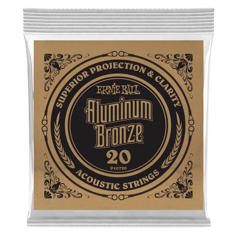 Ernie Ball Aluminum Bronze Acoustic Guitar Single String .020w
